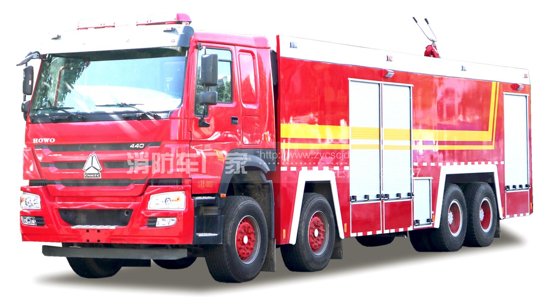 22吨豪沃前四后八水罐消防车