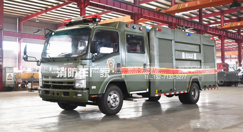 军绿色五十铃3.5吨水罐消防车参数配置、高清图片及价格